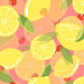 Lemons and Cherries-Pink