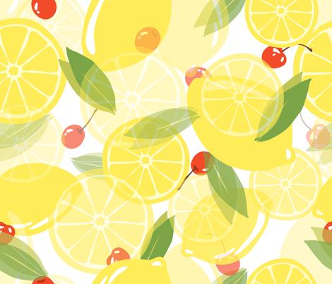 Lemons and Cherries - White fabric by fernlesliestudio on Spoonflower - custom fabric