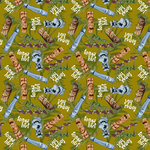 tonga hut pattern green BG