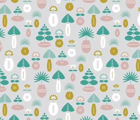 Houseplants Pots fabric by tishyaoedit on Spoonflower - custom fabric
