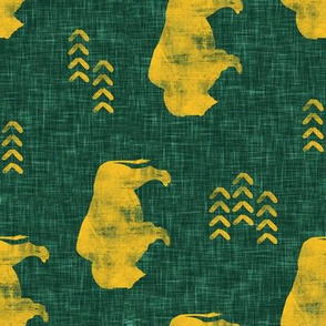 distressed buffalo on green  linen - gold (90) C18BS