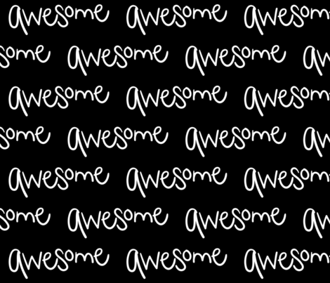 awesome inverted :: marker doodles black and white monochrome typography fabric by misstiina on Spoonflower - custom fabric