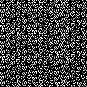 hearts inverted :: marker doodles black and white monochrome