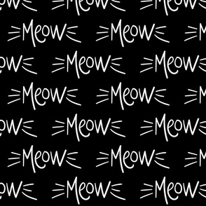 meow inverted :: marker doodles cats kittens whiskers black and white monochrome typography