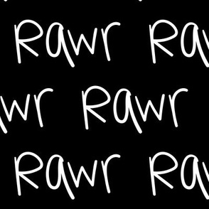rawr inverted :: marker doodles black and white monochrome typography