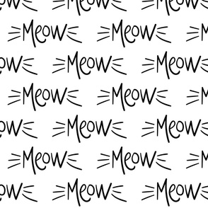 meow :: marker doodles cats kittens whiskers black and white monochrome typography