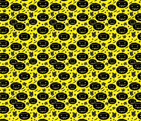 Halloween Jack O Lanterns-yellow fabric by heather_hughes on Spoonflower - custom fabric