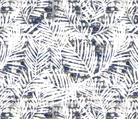 Texture with white palm fronds fabric by robynhammonddesign on Spoonflower - custom fabric
