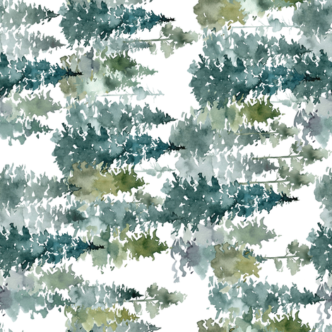 "8"" Woodland Trees - White - 90 Degrees fabric by shopcabin on Spoonflower - custom fabric"