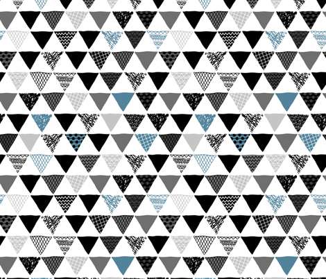 Geometric tribal aztec triangle indigo blue modern patterns fabric by littlesmilemakers on Spoonflower - custom fabric