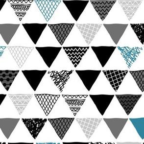 Geometric tribal aztec triangle indigo blue modern patterns