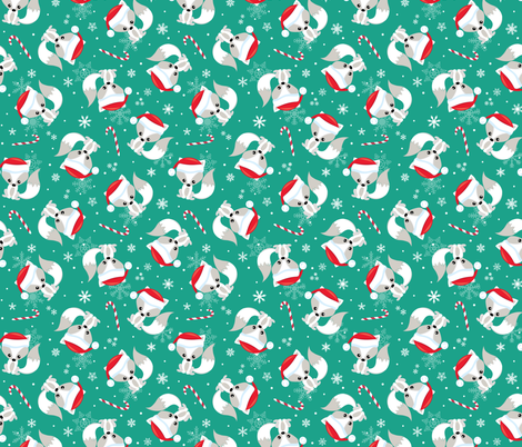 Santa Fox – Christmas Red Santa Hat, Candy Canes + Snowflakes - Arcadia Green fabric by gingerlous on Spoonflower - custom fabric