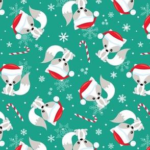 Santa Fox – Christmas Red Santa Hat, Candy Canes + Snowflakes - Arcadia Green