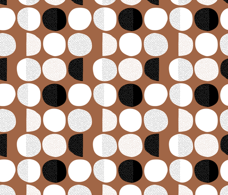 Abstract moon cycle phase Scandinavian minimal retro circle design copper brown autumn fabric by littlesmilemakers on Spoonflower - custom fabric