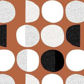 Abstract moon cycle phase Scandinavian minimal retro circle design copper brown autumn