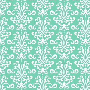 damask sea foam green