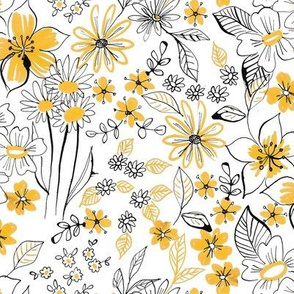 inky floral yellow
