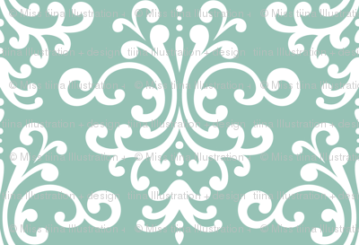 damask lg faded teal