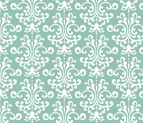 damask lg faded teal fabric by misstiina on Spoonflower - custom fabric