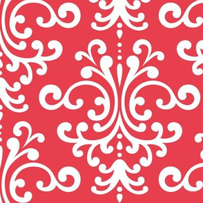 damask lg bold coral