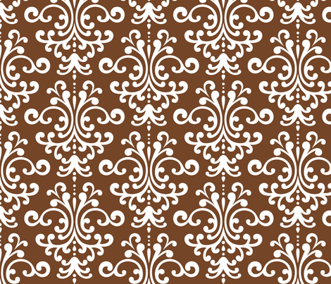 damask lg chocolate brown fabric by misstiina on Spoonflower - custom fabric