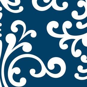 damask xl navy blue