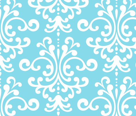 damask xl sky blue fabric by misstiina on Spoonflower - custom fabric