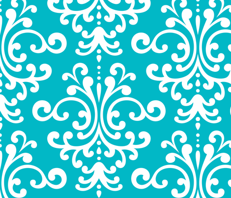 damask xl surfer blue fabric by misstiina on Spoonflower - custom fabric