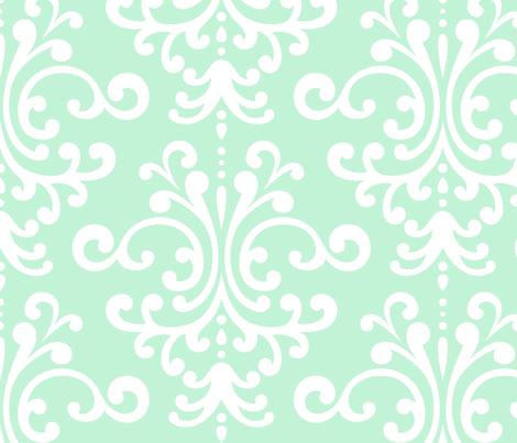 Damask Xl Ice Mint Green Wallpaper Misstiina Spoonflower