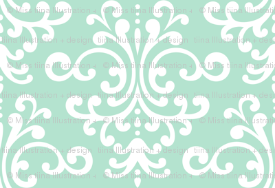 damask xl mint green