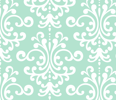 damask xl mint green fabric by misstiina on Spoonflower - custom fabric