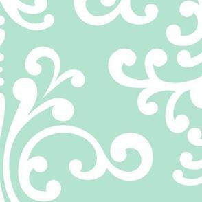 damask xl mint green