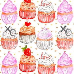 "6"" Valentine Cupcakes // Bronze Hearts"