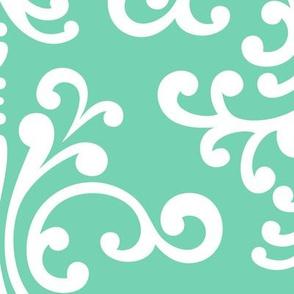 damask xl sea foam green