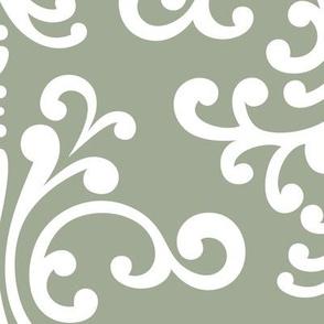 damask xl sage green
