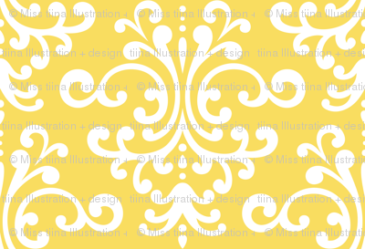 damask xl butter yellow
