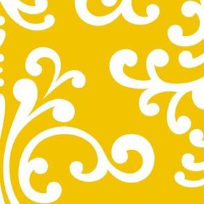 damask xl mustard yellow