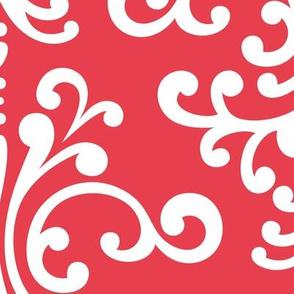damask xl bold coral