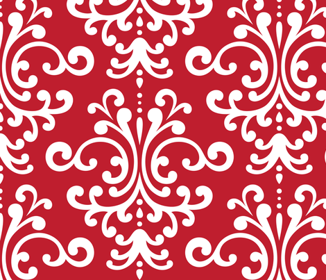 damask xl red fabric by misstiina on Spoonflower - custom fabric