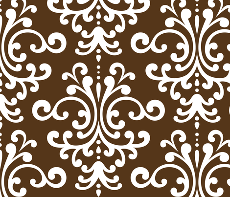 damask xl brown fabric by misstiina on Spoonflower - custom fabric