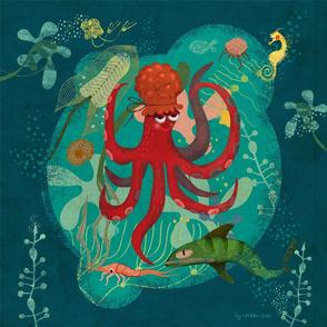 "Underwater kids stories pillow panel 18"""