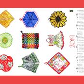 Vintage potholders 2019 calendar JK