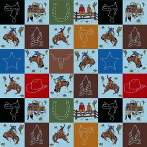 cowboy quilt blue