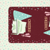 Cheers! Retro Musical Holiday Bar Cart TEA TOWEL