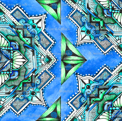 Square Medallion 2 in blue and green