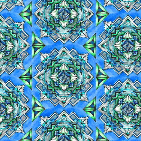 Square Medallion 2 in blue and green fabric by jennablackzen on Spoonflower - custom fabric