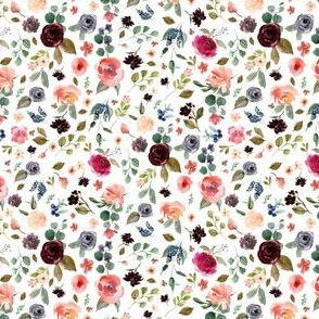 "4"" Charlotte Free Falling Florals - White"