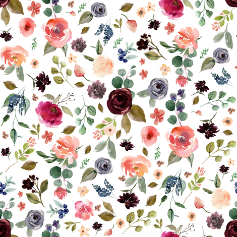 """8"""" Charlotte Free Falling Florals - White fabric by shopcabin on Spoonflower - custom fabric"""