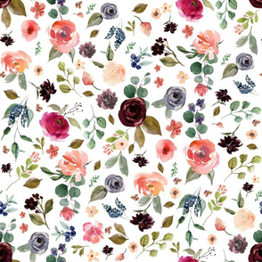 """18"""" Charlotte Free Falling Florals - White"""