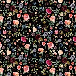 "4"" Charlotte Free Falling Florals - Black"